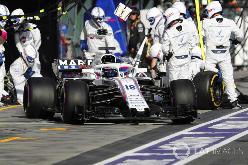 Lance Stroll, Williams FW41 Mercedes pit stop