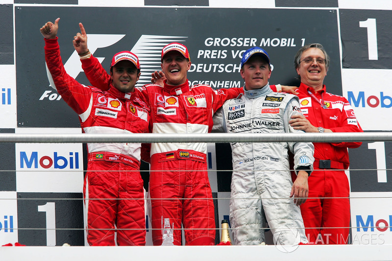 2006: Race winner Michael Schumacher, Ferrari; second place Felipe Massa, Ferrari; third place Kimi Raikkonen, McLaren