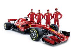 Sebastian Vettel, Ferrari, Kimi Raikkonen, Ferrari, Daniil Kvyat, Ferrari development driver, Antonio Giovinazzi, Ferrari reserve driver