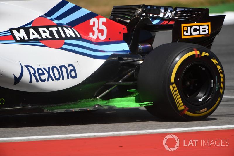Lance Stroll, Williams FW41 con parafina aerodinámica en el piso trasero