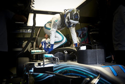 Valtteri Bottas, Mercedes AMG F1, climbs in to his car