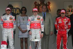 Podium: race winner Fernando Alonso, McLaren, second place Lewis Hamilton,McLaren, third place Felipe Massa, Ferrari,