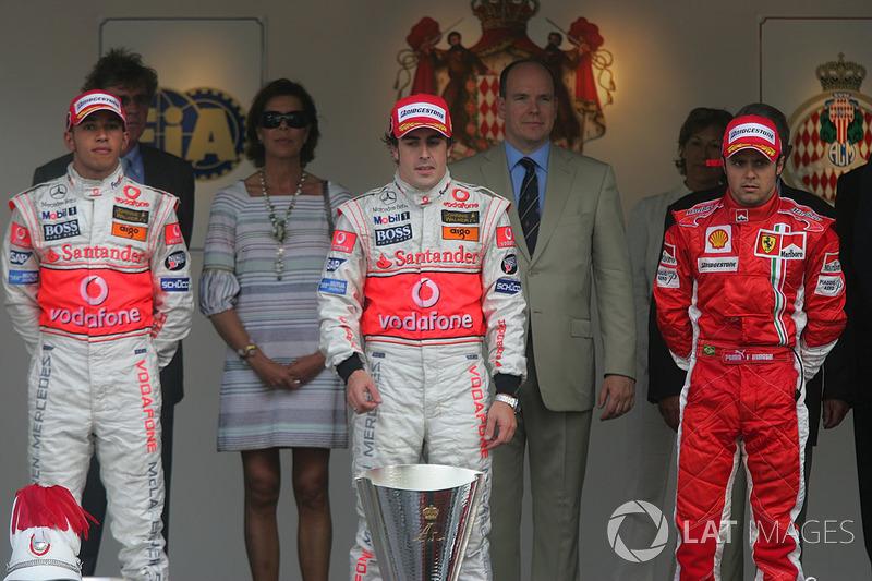 2007: 1. Fernando Alonso, 2. Lewis Hamilton, 3. Felipe Massa