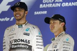 Podium: race winner Lewis Hamilton, Mercedes AMG and third place Nico Rosberg, Mercedes AMG