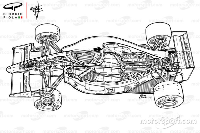 Dibujo en corte del Ferrari F1-90 (641)