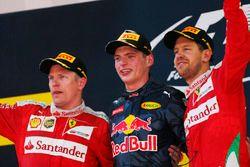 Kimi Raikkonen, Ferrari, 2nd Position, Max Verstappen, Red Bull Racing, 1st Position, and Sebastian
