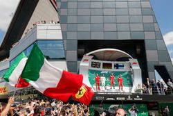 Podium: Claudio Albertini, Ferrari, second place Lewis Hamilton, Mercedes AMG F1, Race winner Sebastian Vettel, Ferrari, third place Kimi Raikkonen, Ferrari