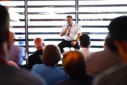 Zak Brown, Executive Director, McLaren Racing CEO, speaks to the media