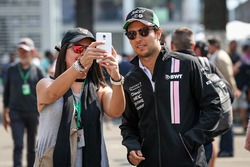 Sergio Perez, Sahara Force India poses for a selfie photo with a fan
