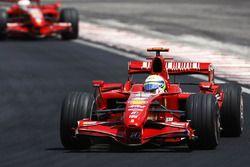 Felipe Massa, Ferrari F2007, leads Kimi Raikkonen, Ferrari F2007
