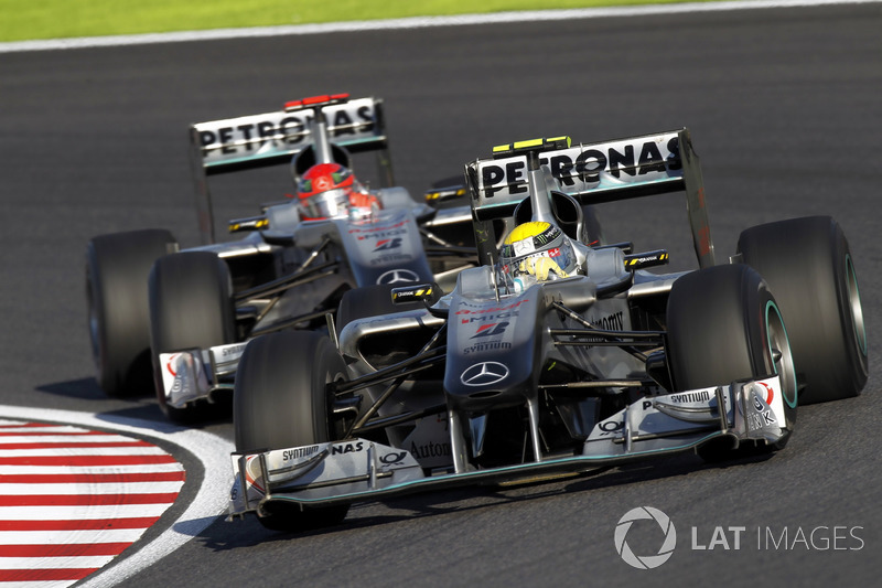 Nico Rosberg, Mercedes GP W01, leads Michael Schumacher, Mercedes GP W01