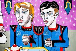 Une fresque de Brendon Hartley, Toro Rosso, et Pierre Gasly, Toro Rosso