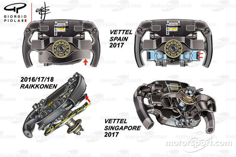 Ferrari SF70H steering wheel comparison: Vettel and Raikkonen