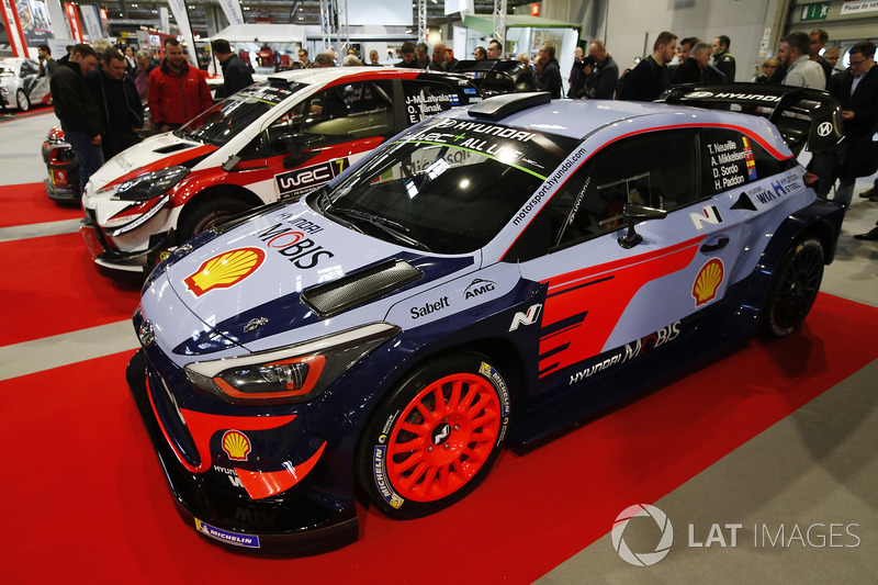 Hyundai and Toyota WRC cars on display