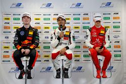 Press conference, Dan Ticktum, Motopark Dallara F317 - Volkswagen, Enaam Ahmed, Hitech Bullfrog GP Dallara F317 - Mercedes-Benz, third place Mick Schumacher, PREMA Theodore Racing Dallara F317 - Mercedes-Benz