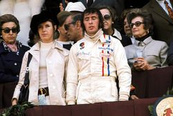Podium: winner Jackie Stewart, Tyrrell, with wife Helen