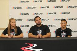 2017 NASCAR Drive for Diversity participants Brittany Zamora , Colin Cabre and Ernie Francis Jr. at