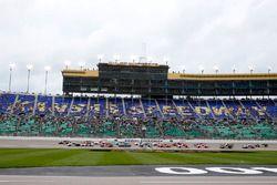 Erik Jones, Joe Gibbs Racing Toyota leads the field on a restart