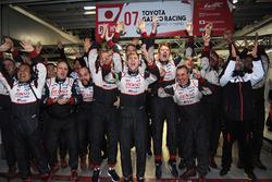 Toyota Racing team members celebrate the win