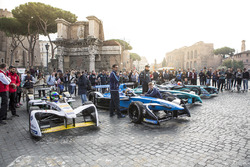 Formula E cars on display in Rome