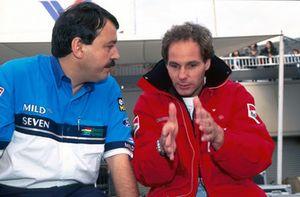 Joan Villadelprat, Benetton Team Manager met Gerhard Berger, Ferrari