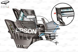 Mercedes AMG F1 W09 rear wing comparsion, Singapore GP