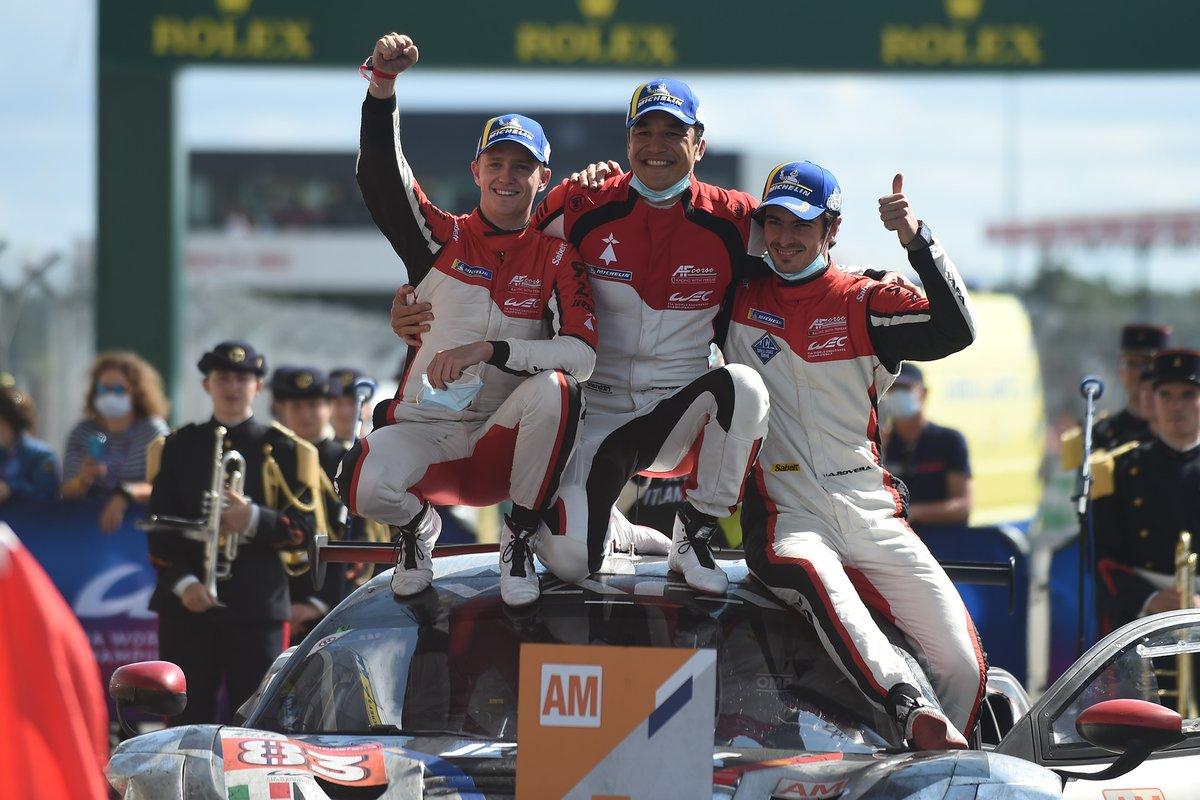 LMGTE Am ganadores François Perrodo, Nicklas Nielsen, Alessio Rovera, #83 AF Corse Ferrari 488 GTE EVO