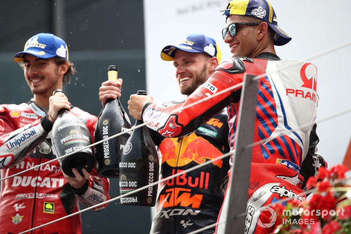 Brad Binder, Red Bull KTM Factory Racing, Francesco Bagnaia, Ducati Team, Jorge Martin, podio Pramac Racing