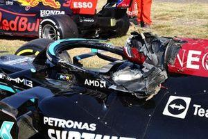 The damaged car of Lewis Hamilton, Mercedes W12