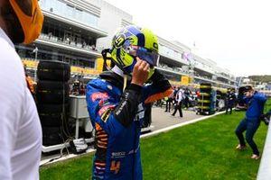 Lando Norris, McLaren, arriveert op de grid