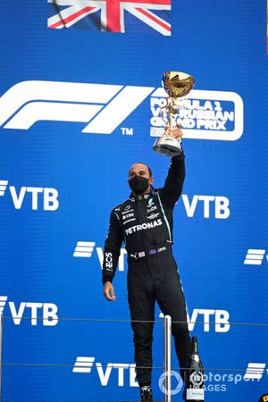 Lewis Hamilton, Mercedes, 1st position, celebrates with his trophy