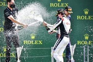Lorenzo Colombo, Campos Racing celebrates on the podium with the champagne