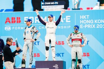 Race winner Sam Bird, Envision Virgin Racing with Edoardo Mortara, Venturi Formula E, 2nd position, Lucas Di Grassi, Audi Sport ABT Schaeffler, 3rd position on the podium