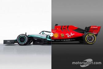 Mercedes W10 vs. Ferrari SF90 comparison