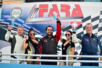 FARA Porsche Challenge podium finishers Bart Collins, Lino Fayen, and Juan Fayen