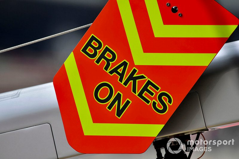 "A ""Brakes On"" board"