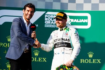 Mark Webber interviews Valtteri Bottas, Mercedes AMG F1, 1st position, on the podium