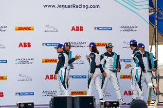 The PRO, PRO AM class podium winners congratulate each other. L-R: Bryan Sellers, Rahal Letterman Lanigan Racing, Bandar Alesayi, Saudi Racing, Katherine Legge, Rahal Letterman Lanigan Racing, Ahmed Bin Khanen, Saudi Racing, Sérgio Jimenez, Jaguar Brazil Racing, Lin Qi, Team China