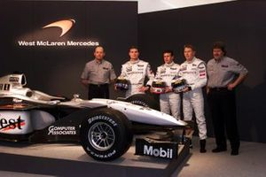 Ron Dennis, David Coulthard, Olivier Panis, Mika Hakkinen and Norbert Haug