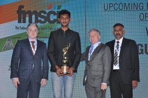 Mr. Gautam Singhania (CMD Raymond Group), Raghul Rangasamy winner of the FMSCI Upcoming Motorsports Person of the Year Award, Mr. Jean Todt (president FIA), Mr. J. Prithiviraj President of FMSCI