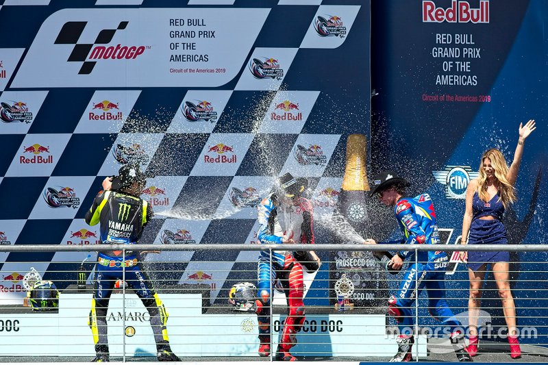 Podium: Race winner Alex Rins, Team Suzuki MotoGP, second place Valentino Rossi, Yamaha Factory Racing, third place Jack Miller, Pramac Racing