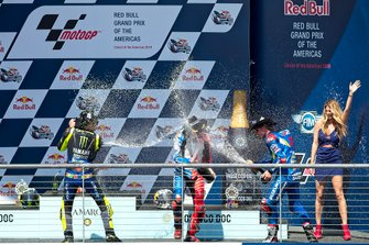 Podium: Race winner Alex Rins, Team Suzuki MotoGP, second place Valentino Rossi, Yamaha Factory Racing, third place Jack Miller, Pramac Racing