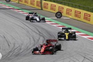 Sebastian Vettel, Ferrari SF1000, leads Daniel Ricciardo, Renault F1 Team R.S.20, and Pierre Gasly, AlphaTauri AT01
