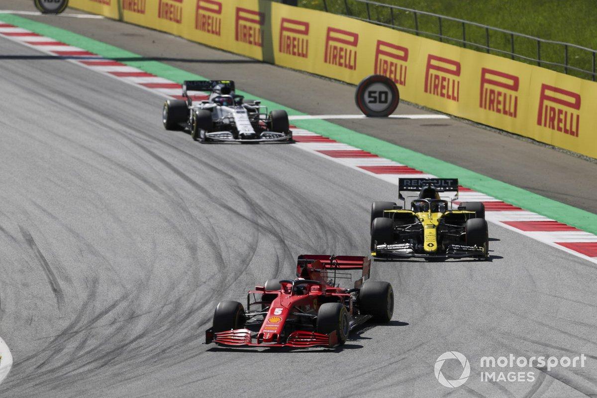 Sebastian Vettel, Ferrari SF1000, Daniel Ricciardo, Renault F1 Team R.S.20, y Pierre Gasly, AlphaTauri AT01
