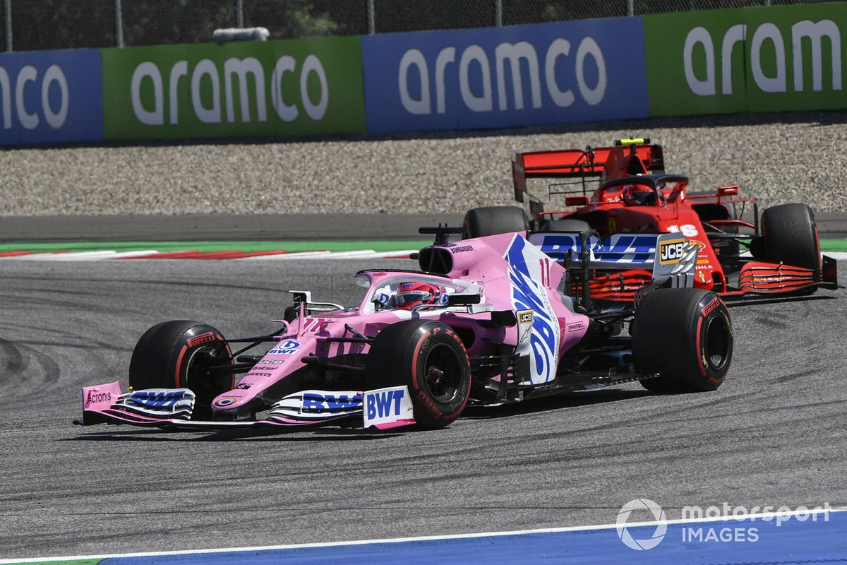 Sergio Perez, Racing Point RP20 and Charles Leclerc, Ferrari SF1000