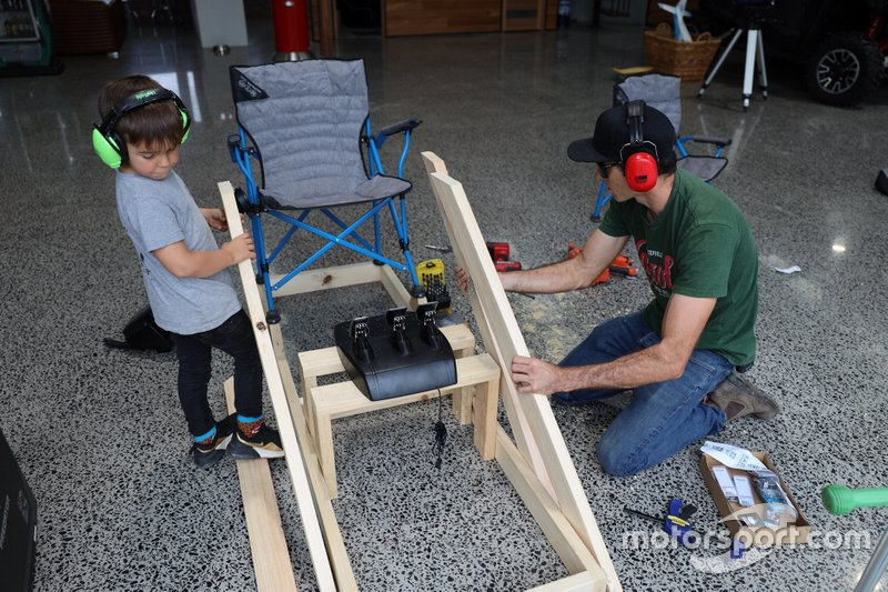 Rick Kelly and his son build their home-made simulator