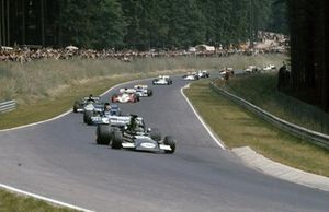 Henri Pescarolo, March 721 Ford leads François Cevert, Tyrrell 002 Ford and Carlos Pace, March 711 Ford
