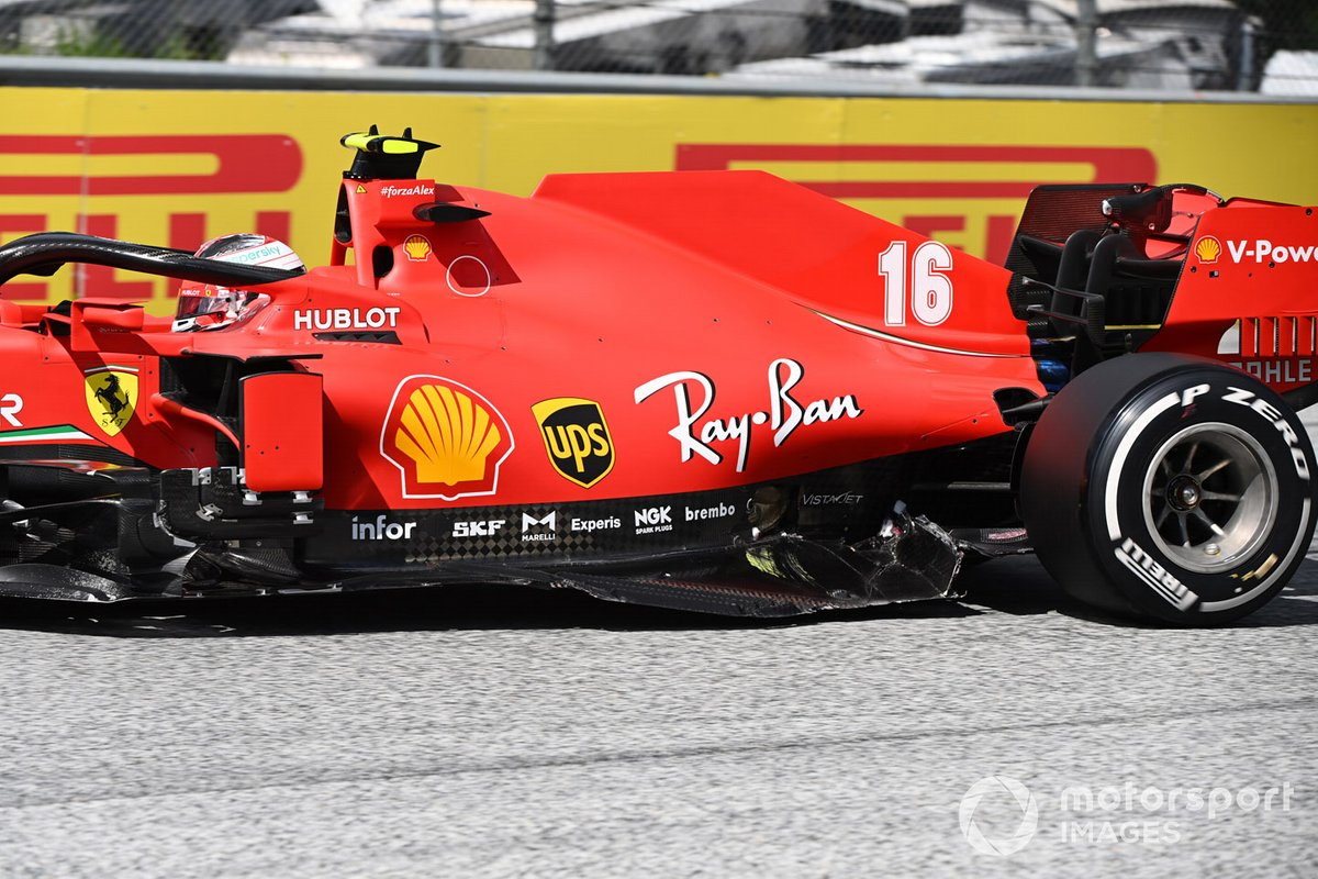 Charles Leclerc, Ferrari SF1000, sustains accident damage at the start