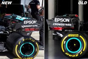 Mercedes F1 W11 rear wing comparison