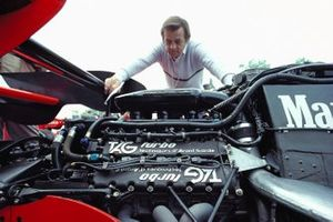 Hans Mezger inspects the Porsche TAG engine in a McLaren MP4-2